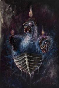 I - Agata płocica - 3 kury płynące łodzią z kości, niepokojące, budzące grozę, mroczne
