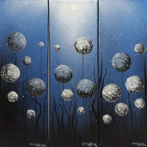 w trawie (tryptyk) - Bartłomiej baranowski - pejzaż, realizm magiczny, nocne niebo, gwiazdy, dmuchawce, trawa, księżyc