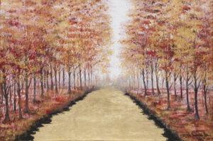 Czerwień lata - Mariola świgulska - pejzaż, las brzozowy przecięty pośrodku centralnie rzeką, złoty, różowy, światło