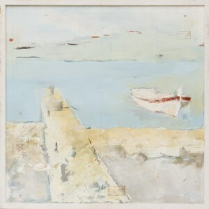 w ciszy - Malwina Cieślik - pejzaż, łódka zacumowana w porcie obok molo