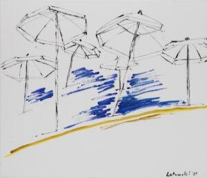 Parasoling - Patryk Lutomski - parasole, plaża, czarny, żółty, niebieski, biały