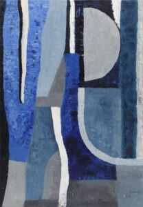 niebieska noc - paulina leszczyńska - geometryczna abstrakcja, dominuje niebieski i morski kolor