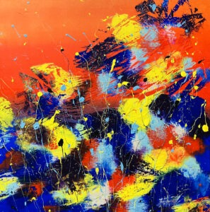 Red field - Marta dunal - abstrakcja, żywe dynamiczne kolory, żółty, pomarańczowy, niebieski