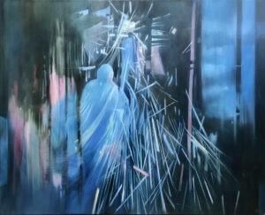 Kruchość. Czas - Jolanta Haluch - figuracja, malarstwo figuratywne, błękit, szarość
