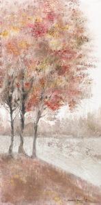 romantyzm przyrody - Mariola świgulska - pejzaż, 3 brzozy nad rzeką, w tle las, obraz rozmyty