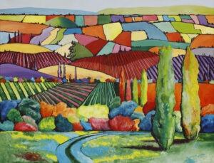 kalejdoskop lata - weronika lipka - pejzaż wiejski, pola, drzewa, rzeka, wiele kolorów, ciepłe