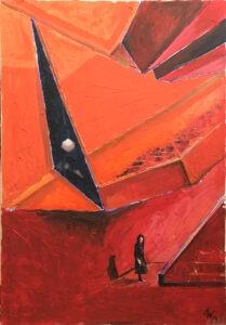 przestrzeń publiczna - Agnieszka słońska-więcek - postać ludzka, schody, abstrakcja, architektura, czerwień, czerwony, pomarańczowy