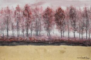 zamglony zagajnik - Mariola świgulska - pejzaż leśny, brzozy, jezioro, różowy, złoty