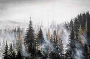 zza mgły - Sylwia Jóźwiak - pejzaż, korony drzew iglastych spowite mgłą, w tle krajobraz górski