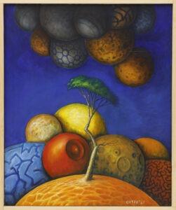 mały książę - Zbigniew olszewski - realizm magiczny, na motywach małego księcia, drzewo rosnące na planecie, w tle inne planety, tło niebiesko-granatowe