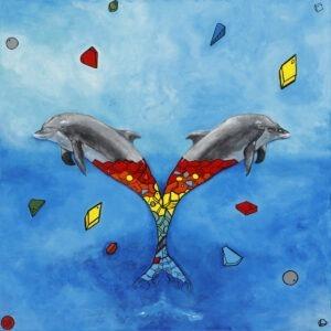 wolność - Dominika radomska - realizm, dwa delfiny złączone ogonami, do połowy z kolorowych fragmentów, do połowy naturalne ciało, w tle błękitna abstrakcja, do około delfinów chaotycznie rozsypane bryły o różnych kształtach i kolorach.
