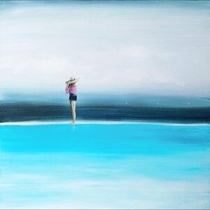 wspomnienie - Sylwia Jóźwiak - pejzaż, kobieta stojąca nad wodą, w tle niebo