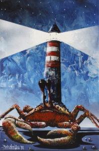 krabiarnia morska - Bartłomiej baranowski - krab, latarnia morska, realizm magiczny, błękitne niebo, światło