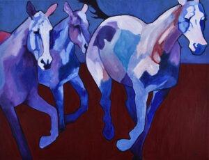 Cwał (2021) - Weronika Lipka - pędzące konie w fioletach i czerwieni