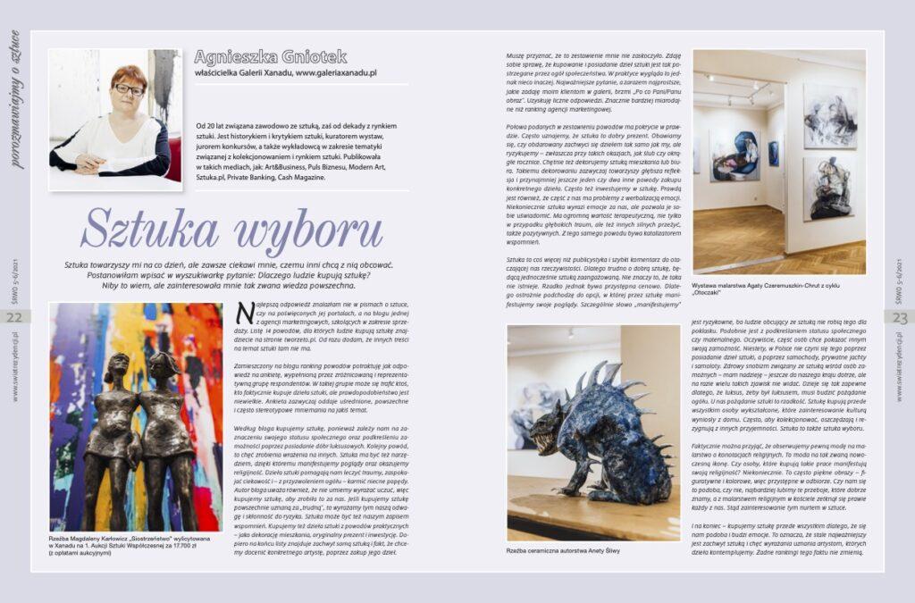 Sztuka wyboru - Agnieszka Gniotek - Świat rezydencji 5-6.2021