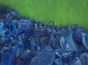 Iza Jaśniewska - pejzaż z ptakami (2021) - niebiesko-zielony obraz z ptakami