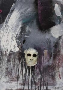 Aleksandra Modzelewska - Maska czy twarz S103, 2020 - ekspresyjny obraz z wizerunkiem twarzy