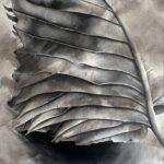 Paweł Lubiński - Organic abstract - obraz z liściem w szarościach