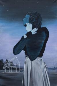 Artur Bartkiewicz - Wczoraj, 2020 - portret kobiety na niebiesko-fioletowym tle
