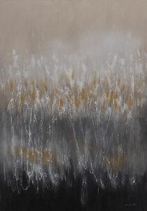 Elżbieta Ponińska - Abstrakcja I, 2020 - szaro-beżowa łąka