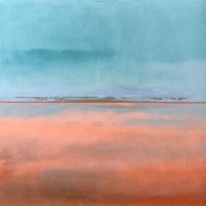 Królestwo laguny #6 - Katarzyna Stankiewicz - pejzaż abstrakcja w błękicie i różu