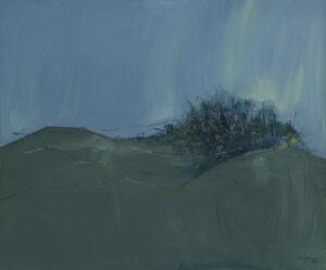 Maria Samczuk - Polana, 2021 - błękitno-zielony pejzaż z łąką
