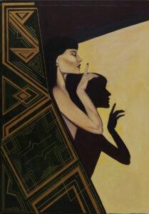 Katia Meller - Rzucić cień, 2019 - portret kobiety na czarno-żółtym tle
