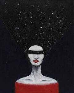 Agata Wereszczyńska - Lady Kosmos, 2018 - portret kobietyz zasłoniętymi oczami na czarnym tle