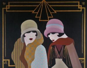 Patrycja Kruszyńska-Mikulska - Flapper girls, 2021 - portret dwóch kobiet w stylu art deco