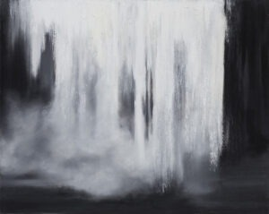 Karolina Jarosławska Wodospad 2, 2021 - czarno-biały pejzaż z wodospadem