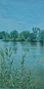 Kazimiera Dymek - Nad stawem, 2014 - błękitno-zielony pejzaż z wodą i drzewami