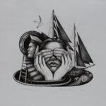 Yaroslava Holysh - Darkened vision, 2020 - rysunek tuszem na papierzez z kobiecą postacią i żaglami