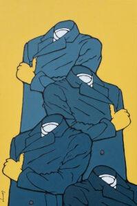 Marcin Lenczowski - Niebieski nr 61 (Babilon), 2021 - obraz z męskimi postaciami na żółtym tle