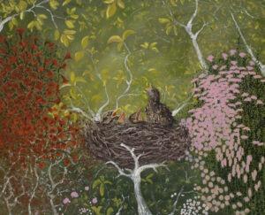 Pervin Ece Yakacik - Gniazdo II, 2020/2021 - pisklaki w gnieździe na tle zielonych drzew