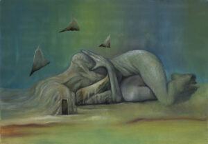 Paweł Batura - Zeta, 2019 - surrealistyczny obraz z postacią leżącą na ziemi