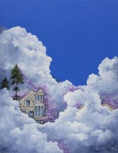 Beata Mura - 10 aleja nad nami, 2021 - bajkowy obraz z domami w chmurach na niebie