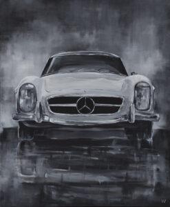 Weronika Wójcik - Mercedes Benz, 2021 - szary obraz z samochodem