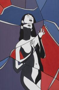 Adriana Zawadzka Reflection in the mirror, 2021 - kobieta na niebiesko-czerwonym tle