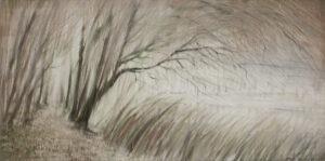 Mariola Świgulska Brzask nad rozlewiskiem, 2013 - pejzaż z drzewami w szarościach