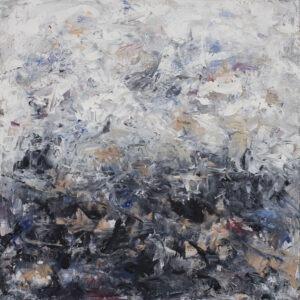 Iwona Gabryś Bez tytułu, 2021 - abstrakcja w szarości i błękicie