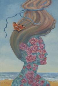 Sabina Salamon - Pejzaż z motylem, 2020 - dekoracyjny portret z kwiatami i motylem