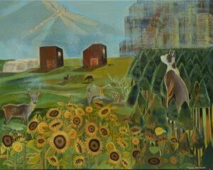 Michalina Czurakowska - Sunny Landscape, 2021 - pejzaż ze słonecznikami i kotem