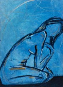 Sofia Wróblewska - Bez tytułu z cyklu Samotność, 2021 - kobiecy akt na niebieskim tle
