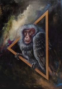 Agata Płocica - Bez tytułu, 2020 - obraz z małpą