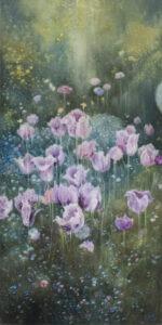 Jolanta Haluch - Tajemnica Ogrodu 1, 2021 - obraz z kwiatami w ogrodzie