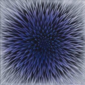Hanna Rozpara - Echinops, 2021 - abstrakcja niebiesko-biała