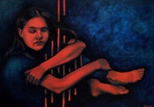 Yaroslava Holysh - She is never cold, 2021 - czerwona kobieta na granatowym tle