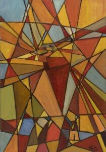 Tomasz Tais - Corrida 1, 2018 - geometryczna abstrakcja w ciepłych kolorach