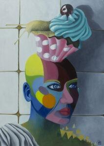 Edyta Mądzelewska - Pomieszane światy II, 2021 - surrealistczny kolorowy portret