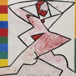 Andrzej Folfas - Krocząca - wizerunek nagiej kobiety na białym tle